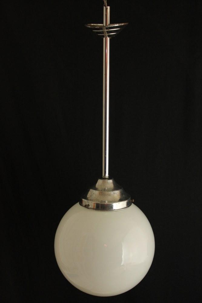 art deco opalglas lampe 25 cm chrom h ngelampe original ebay. Black Bedroom Furniture Sets. Home Design Ideas