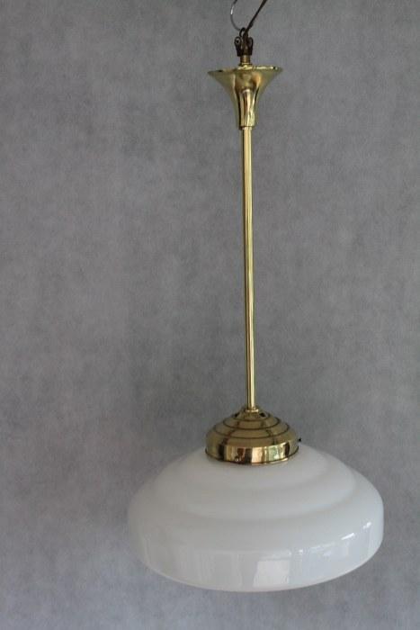 original art deco opalglas lampe messing h ngelampe ebay. Black Bedroom Furniture Sets. Home Design Ideas