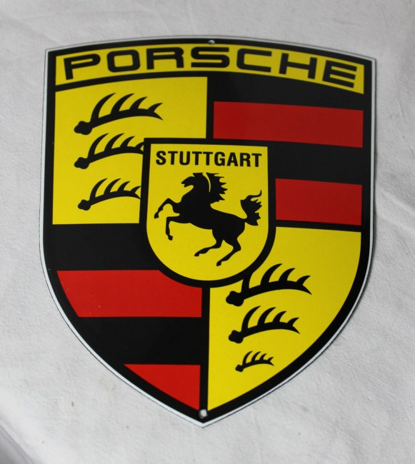 porsche emailschild schild logo top 18x15 cm neu ebay. Black Bedroom Furniture Sets. Home Design Ideas